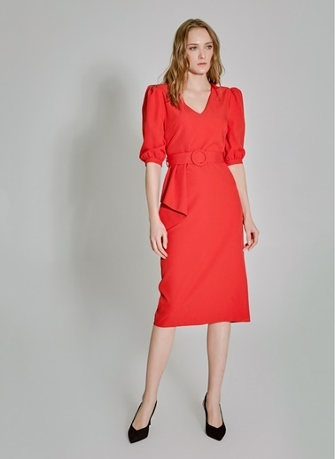 People By Fabrika Peplum Detaylı Elbise Kırmızı